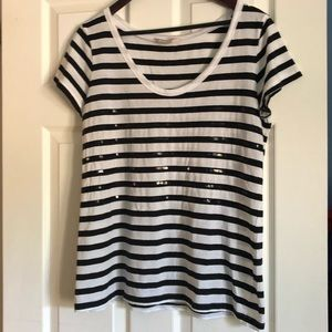Banana Republic Black Sequin Striped Tee-Large
